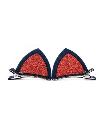 Spinki do włosów kocie uszy czerwone