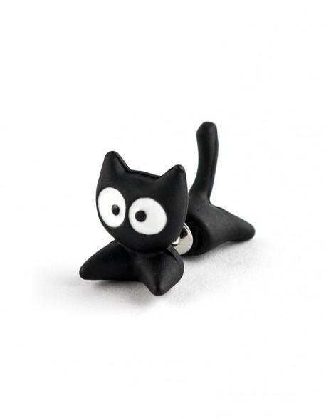 Kolczyk Kot Ninja Czarny