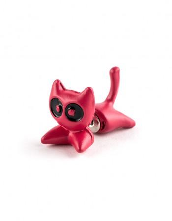 Kolczyk Kot Ninja Malinowy