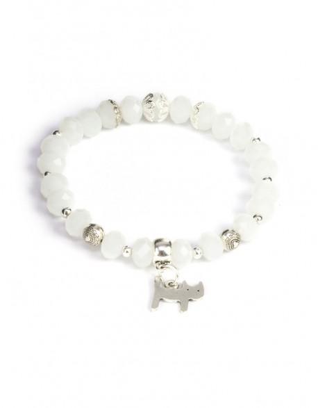 Bransoletka Kot profiLove - białe koraliki