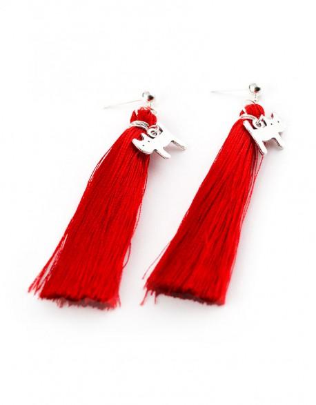 Kolczyki Chwosty Czerwone z Kotem ProfiLove