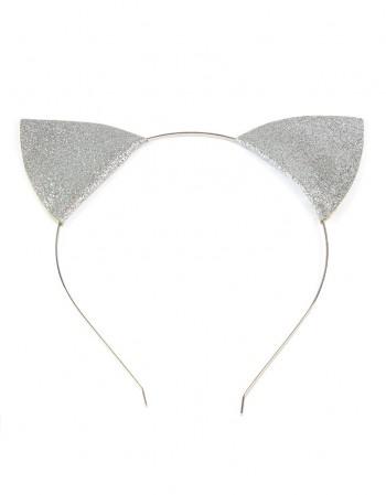 Opaska Kocie Uszy Brokatowe Srebrne
