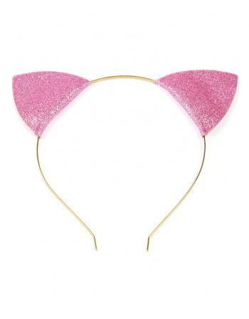 Opaska Kocie Uszy Brokatowe Różowe