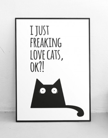 "Plakat ""I just freaking love cats, ok?!"""