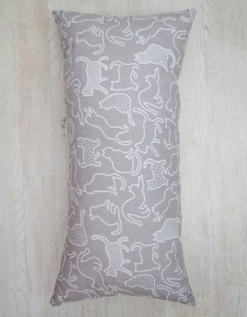 Poduszka szara Konturowe Koty, 30x60cm