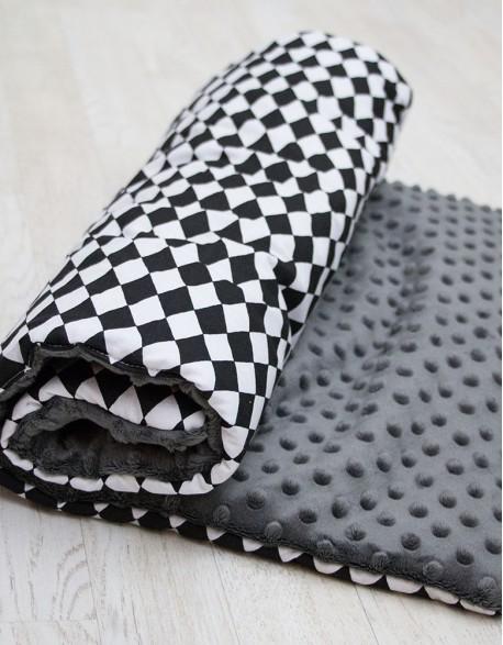 Kocyk Minky - Czarno białe romby na szarym