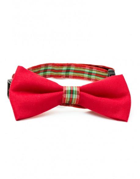 Obroża dla kota - kratka na czerwono