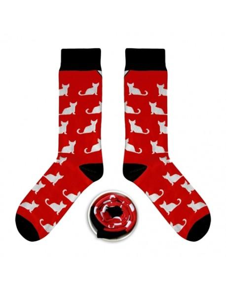 Skarpety czerwone w koty