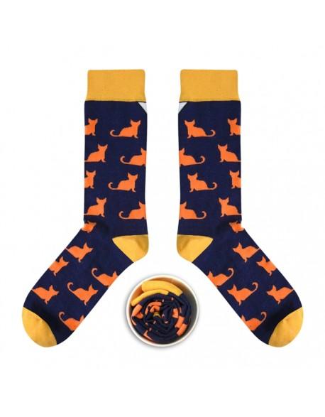 Skarpetki granatowe w oranżowe koty