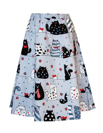 Spódnica, koty na grzędzie z czerwonym