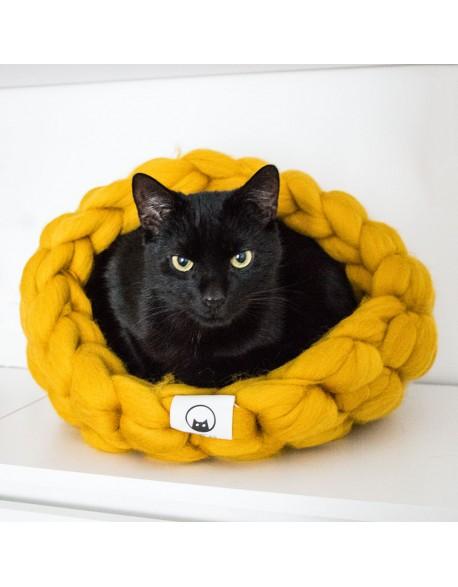 Legowisko dla kota z wełny rozmiar M - miodowe