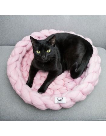 Legowisko dla kota z wełny rozmiar L - różowe